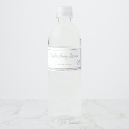 Minimalist Hand Drawn Pink Baby Shower Water Bottle Label