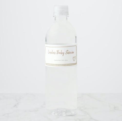 Minimalist Hand Drawn Yellow Baby Shower Water Bottle Label