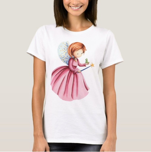 Cute Fairy with Pink Dress and Frog T-shirt