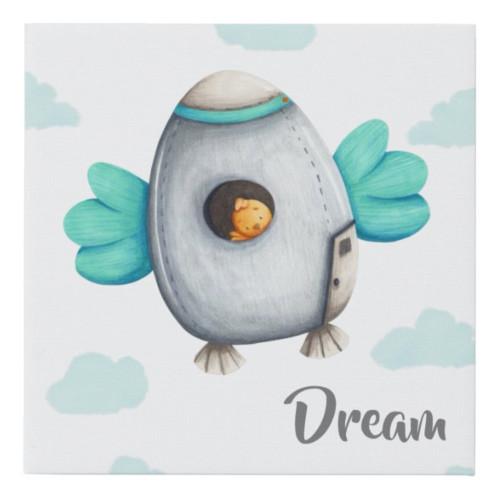 Dream Bird in a Spaceship Nursery Uplifting Faux Canvas Print