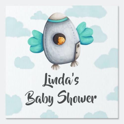 Cute Bird in Space Blue Baby Shower Yard Sign
