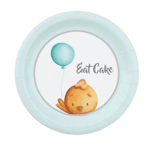 Eat Cake Cute Bird with Blue Balloon Party Paper Plate