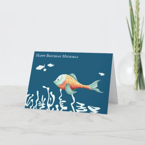 Happy Fish Cute Personalized Birthday Card