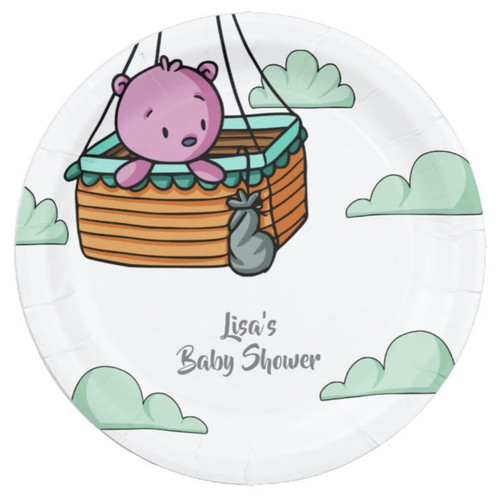 Pink Bear in Hot Air Balloon Basket Baby Shower Paper Plate
