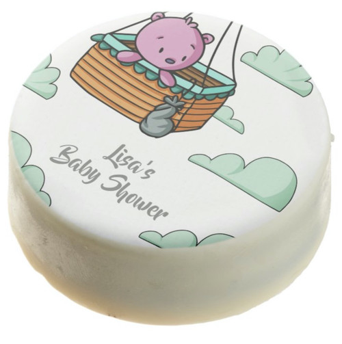 Pink Bear in Basket Girl Baby Shower Personalized Chocolate Covered Oreo