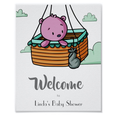 Baby Bear in Basket Welcome Baby Shower Poster