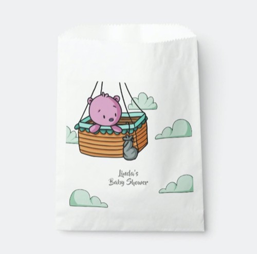 Pink Baby Bear in Hot Air Balloon Baby Shower Favor Bag