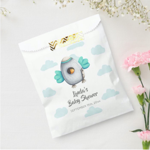 Blue Whimsical Spaceship and Bird Baby Shower Favor Bag
