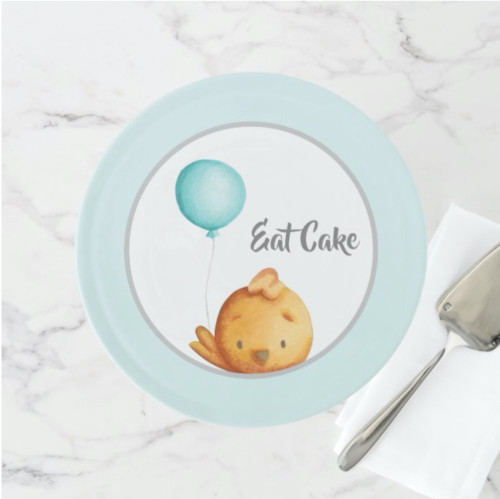 Eat Cake Cute Bird with Blue Balloon Kids Cake Stand