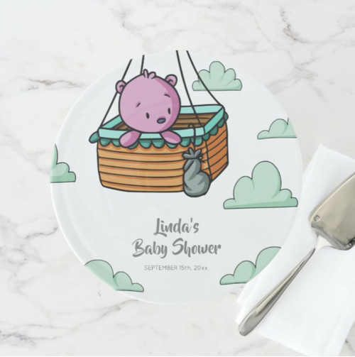 Pink Bear in Hot Air Balloon Basket Party Cake Stand