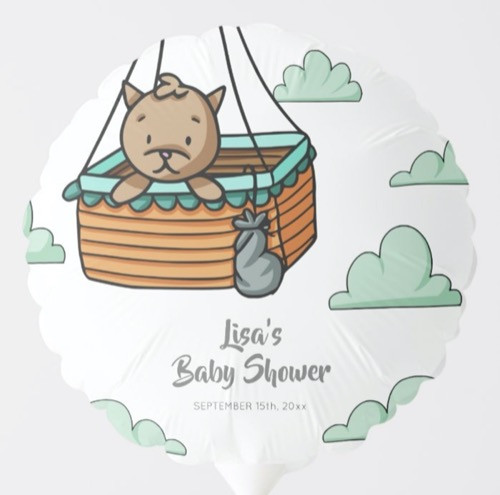 Brown Cat in Hot Air Balloon Basket Party Balloon