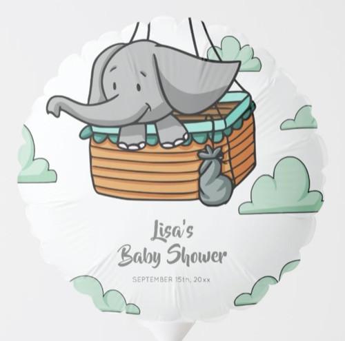 Baby Elephant in Hot Air Balloon Basket Balloon