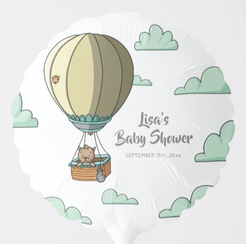 Brown Cat in Hot Air Balloon Baby Shower Balloon