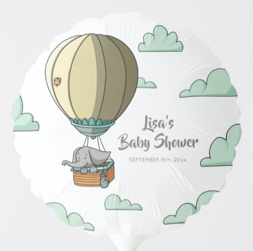 Elephant in Hot Air Balloon Baby Shower Balloon