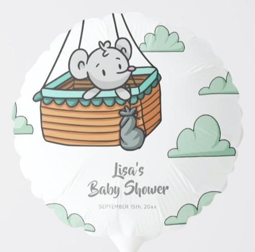 Cute Mouse in Hot Air Balloon Basket Party Balloon