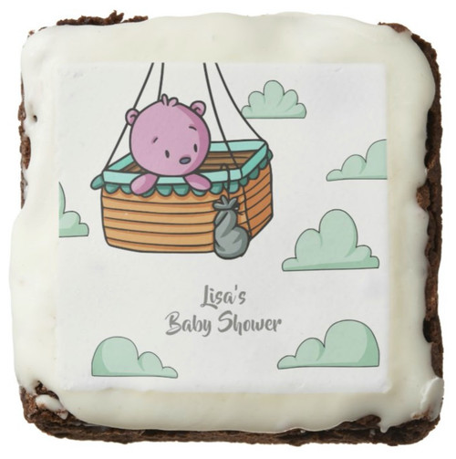 Pink Bear in Hot Air Balloon Basket Party Balloon Brownie