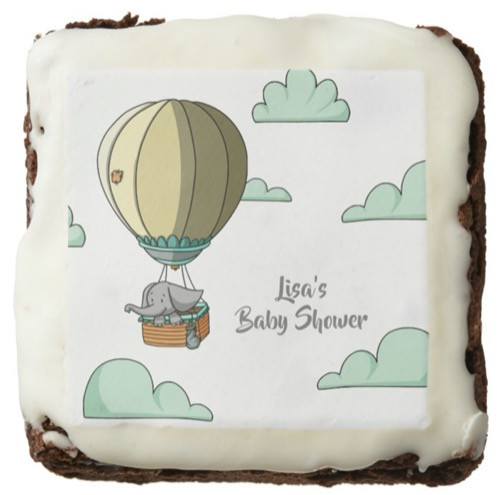 Hot Air Balloon with Elephant Neutral Baby Shower Brownie