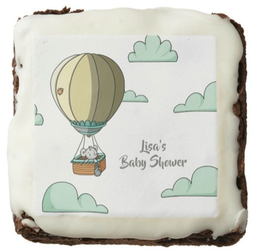 Hot Air Balloon with Mouse Neutral Baby Shower Brownie