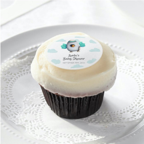 Fresh Minimalist Spaceship and Chicken Baby Shower Edible Frosting Rounds