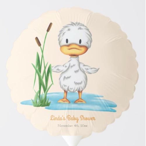 Cute Duck in Pond Neutral Baby Shower Balloon