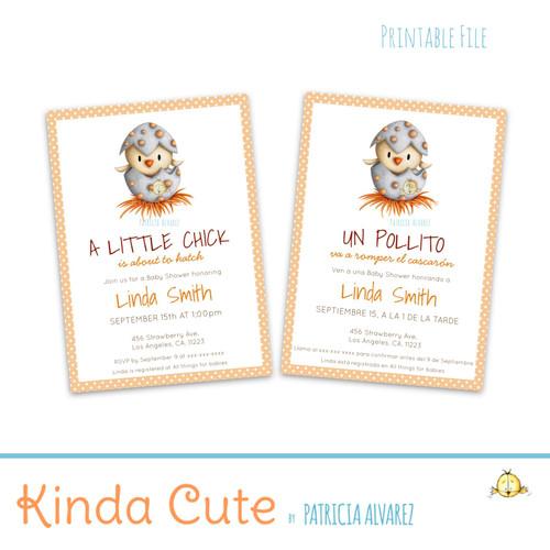Little Bird Baby Shower Printable Invitation. English or Spanish.