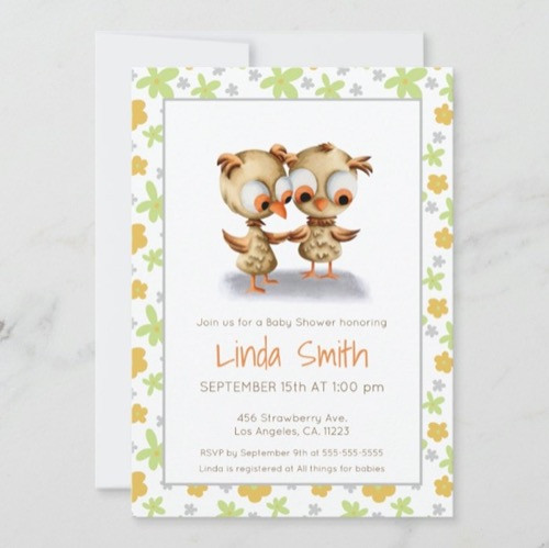 Floral Baby Owls Baby Shower Twins Diaper Raffle Enclosure Card