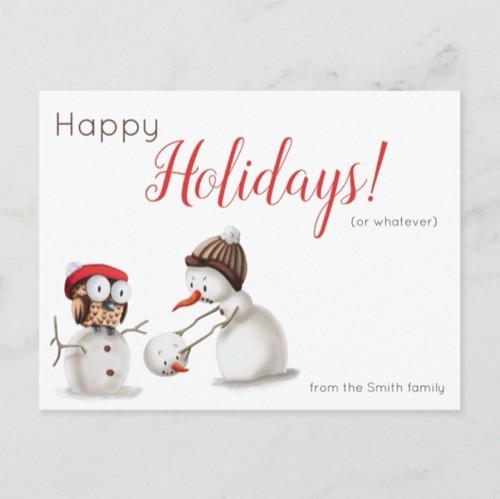 Funny Snowman and Owl Holiday Christmas Postcard