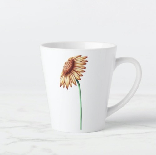 Minimalist personalized sunflower white Latte Mug