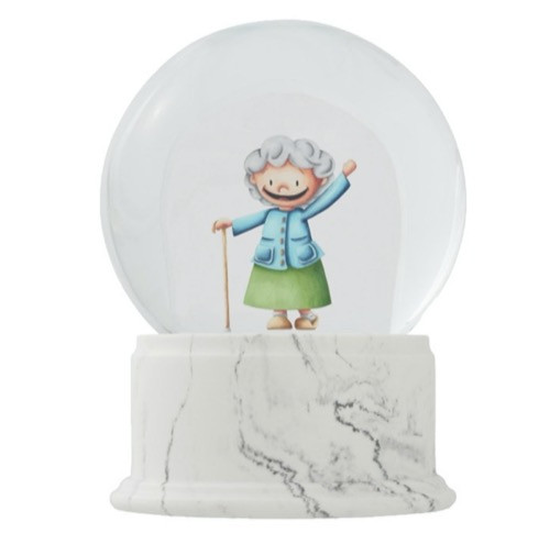 Grandmother Smiling with a Cane Illustrated Snow Globe