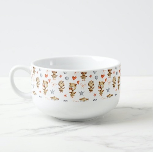 Festive Baby Owls with Balloons Pattern Soup Mug