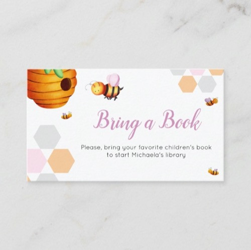 Cute Bee Pink Bring a Book Baby Shower Enclosure Card