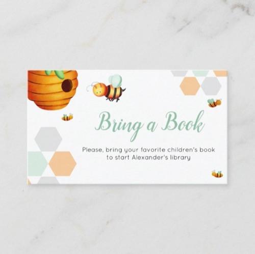 Cute Bee Neutral Green Bring a Book Baby Shower Enclosure Card