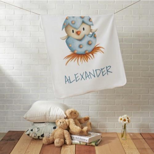 Minimalist Blue Baby Bird Hatching Personalized baby blanket