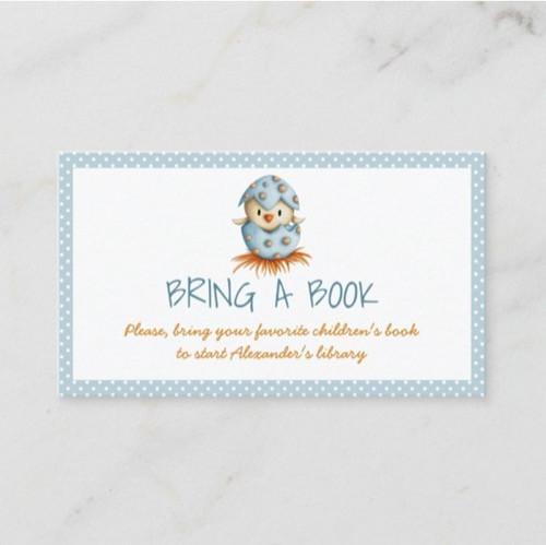 Cute Blue Baby Bird Hatching Bring a Book Enclosure Card