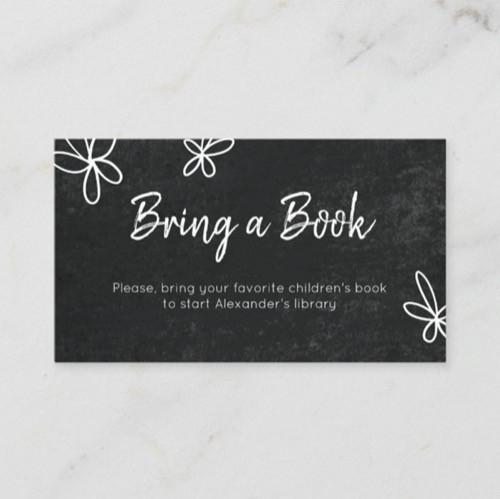 Cute Minimalist Black Floral Neutral Bring a Book Enclosure Card