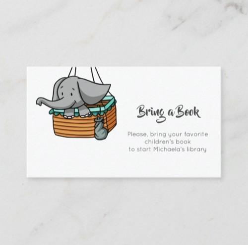 Elephant in Hot Air Balloon Basket Bring a Book Enclosure Card