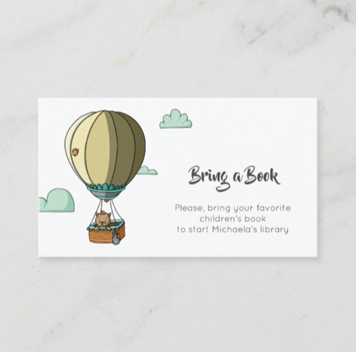 Cute Brown Cat in Hot Air Balloon Bring a Book Enclosure Card