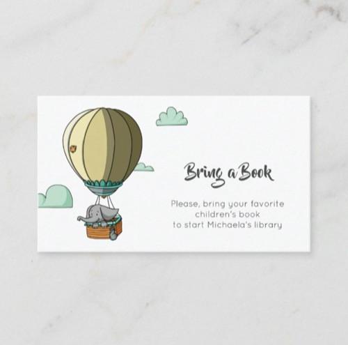 Cute Baby Elephant in Hot Air Balloon Bring a Book Enclosure Card