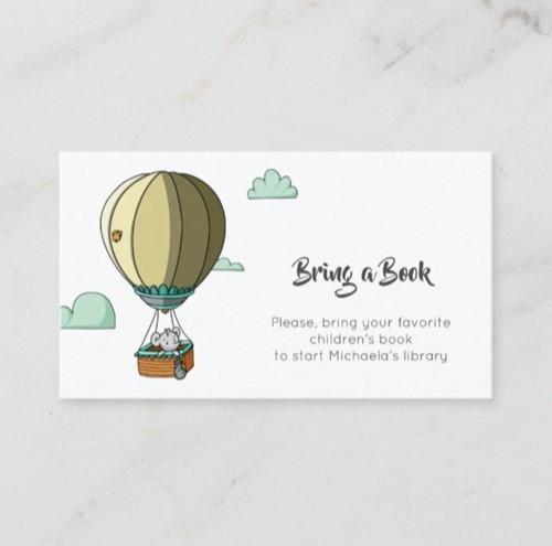 Cute Baby Mouse in Hot Air Balloon Bring a Book Enclosure Card