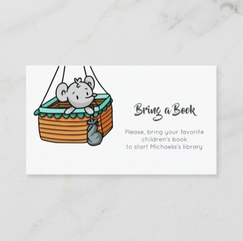 Minimalist Bring a Book with a Mouse in a Basket Enclosure Card