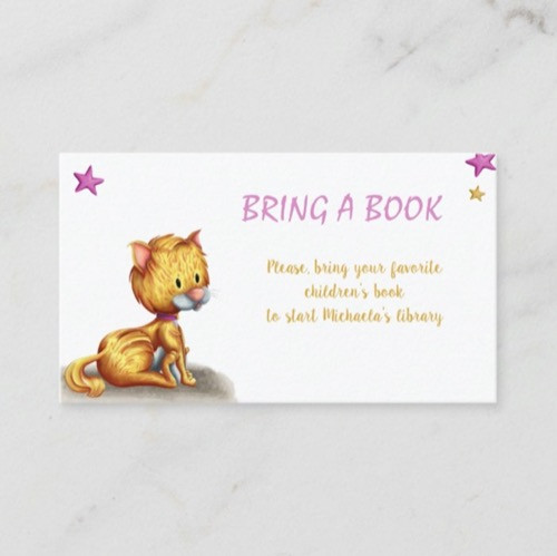 Cute Kitten Bring a Book Girl Baby Shower Enclosure Card