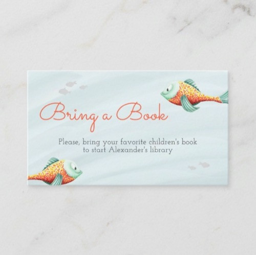 Cute Under the Sea Fish Neutral Twin Bring a Book Enclosure Card