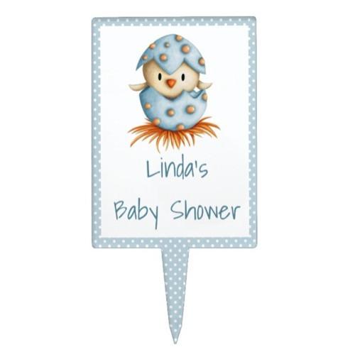Cute Bird Hatching Blue Baby Shower Cake Topper