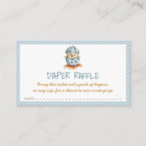 Blue Baby Boy Diaper Raffle with Chick Hatching Enclosure Card