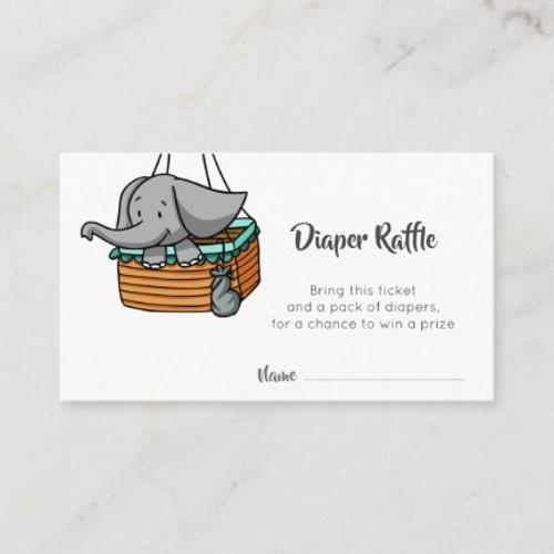 Elephant in Hot Air Balloon Basket Diaper Raffle Enclosure Card
