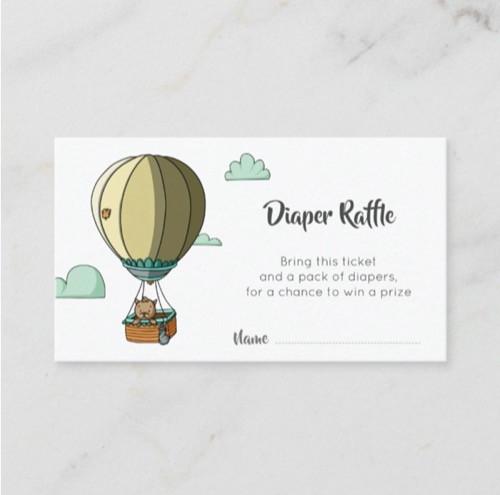 Minimalist Cat in Hot Air Balloon Diaper Raffle Enclosure Card
