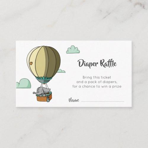 Cute Elephant in Hot Air Balloon Diaper Raffle Enclosure Card