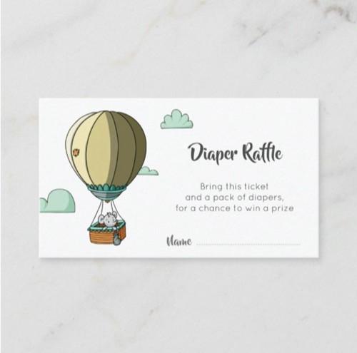 Cute Mouse in Hot Air Balloon Diaper Raffle Enclosure Card