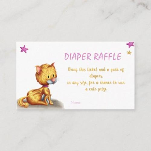 Cute Kitten Diaper Raffle Girl Baby Shower Enclosure Card