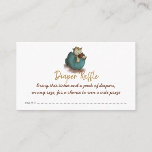 Neutral dinosaur diaper raffle ticket enclosure card
